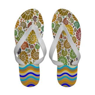 Sea Shore Shells Summer Flip Flops