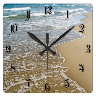 Sea shore square wall clock