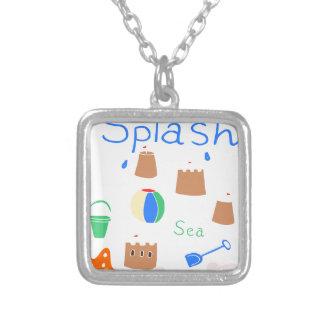 sea side square pendant necklace