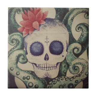 sea skull surf tile art mexican tattoo