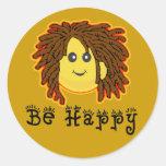 Sea smiley feliz Dreadlocks de Rasta lunes Pegatina Redonda