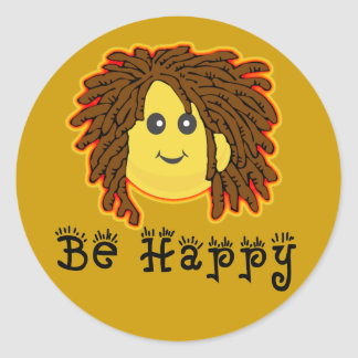 Sea smiley feliz Dreadlocks de Rasta lunes Pegatinas Redondas