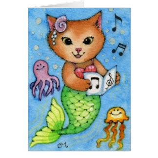 Sea Songs - Cute Little Mermaid Cat Card