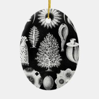 Sea Sponge in Cream and Black Ceramic Ornament