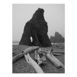 Sea Stack Black and White Poster