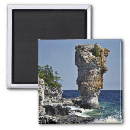 Sea stack, Flowerpot Island, Bruce Peninsula, Onta 2 Inch Square Magnet