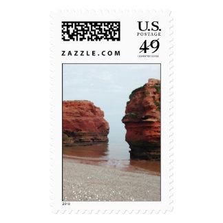 Sea Stack Rocks. Ladram Bay. Devon. UK. Postage Stamp