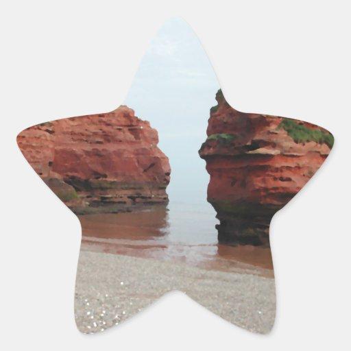 Sea Stack Rocks. Ladram Bay. Devon. UK. Star Sticker