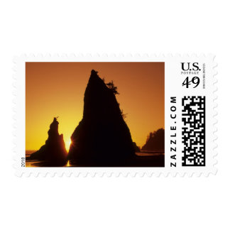 Sea stacks and reflections at sunset, Rialto Stamp
