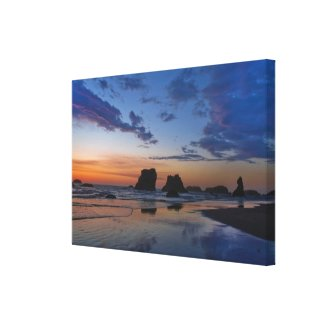 Sea Stacks at Bandon - Sunset on the Oregon Coast Gallery Wrapped Canvas