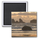 Sea stacks on the beach at Bandon, Oregon 2 Inch Square Magnet