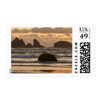 Sea stacks on the beach at Bandon, Oregon Stamp