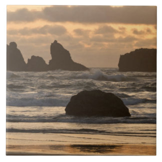 Sea stacks on the beach at Bandon, Oregon Tile