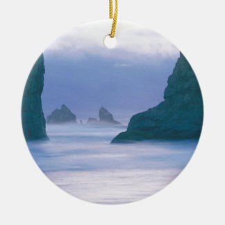 Sea Stacks Oregon Double-Sided Ceramic Round Christmas Ornament