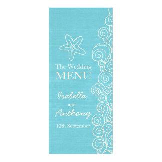 Sea star blue & cream wedding dinner menu personalized announcement