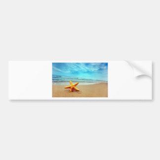 Sea Star On The Beach, Blue Sky, Ocean Bumper Sticker