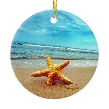 Beach Themed Sea Star On The Beach, Blue Sky, Ocean Ceramic Ornament