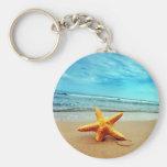 Sea Star On The Beach, Blue Sky, Ocean Key Chains