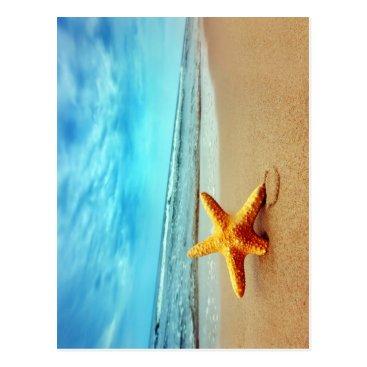 Beach Themed Sea Star On The Beach, Blue Sky, Ocean Postcard