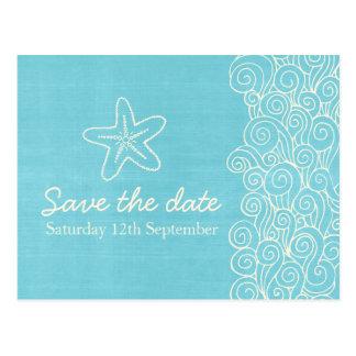 Sea star & swirls blue & cream save the date card postcard