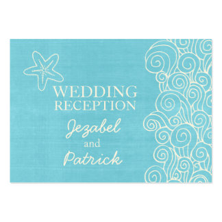 Sea star swirls blue cream wedding enclosure card large business cards (Pack of 100)