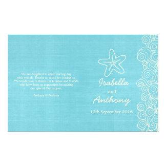 Sea star & swirls blue cream wedding programs