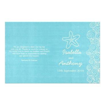 Beach Themed Sea star & swirls blue cream wedding programs