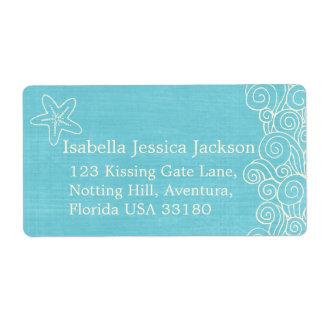 Sea star & swirls blue wedding return reply label shipping label