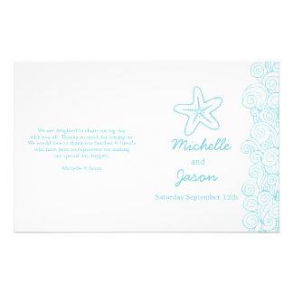 Sea star & swirls blue white wedding programs