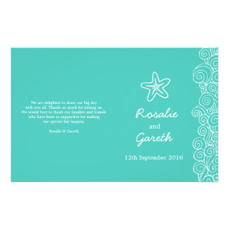 Sea star & swirls teal green wedding programme flyer