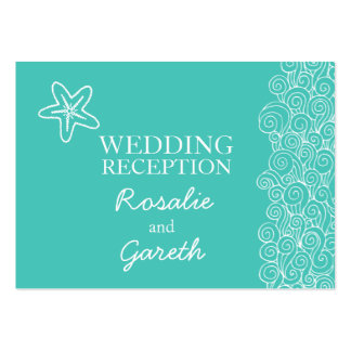 Sea star teal & white wedding  info enclosure card large business cards (Pack of 100)