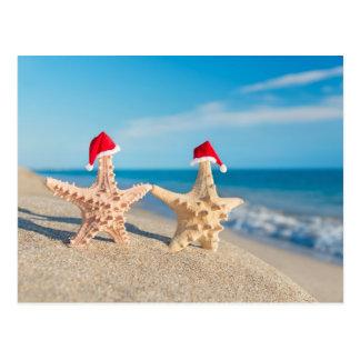 Sea-Stars Couple In Santa Hats Walking At Beach Postcard