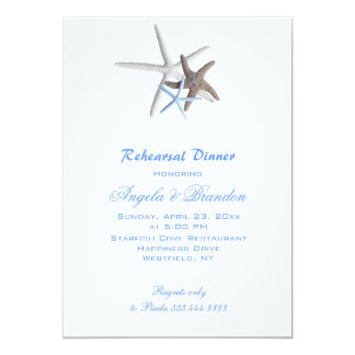 Sea Stars, Custom Beach Wedding Rehearsal Dinner Card