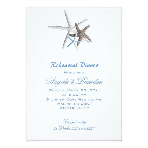 Sea Stars, Custom Beach Wedding Rehearsal Dinner 5x7 Paper Invitation Card