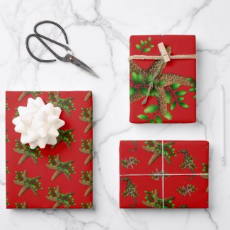 Sea Stars Holly Red Beach Christmas  Wrapping Paper Sheets
