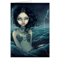 art, fantasy, eye, eyes, big eye, big eyed, ocean, sea, storm, lightning, lightening, water, waves, mermaid, mermaids, gothic, gothic mermaid, dark, night, storms, clouds, jasmine, becket-griffith, becket, griffith, nautical, jasmine becket-griffith, jasmin, strangeling, artist, goth, fairy, gothic fairy, faery, fairies, faerie, fairie, lowbrow, low brow, Card with custom graphic design