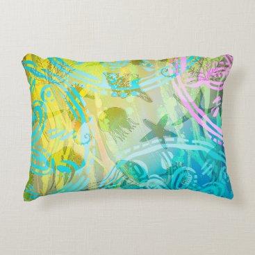 "Beach Themed Sea sun A Cotton Accent Pillow 16"" x 12"""