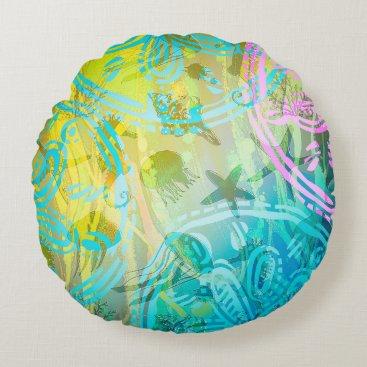 "Beach Themed Sea sun Cotton Round Throw Pillow (16"")"