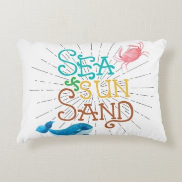 Beach Themed Sea Sun Sand Accent Pillow