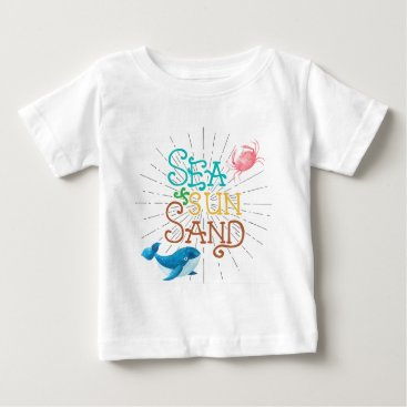 Beach Themed Sea Sun Sand Baby T-Shirt