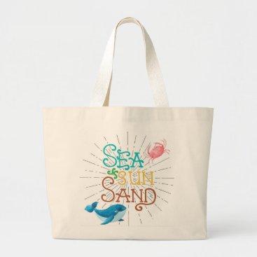 Beach Themed Sea Sun Sand Large Tote Bag