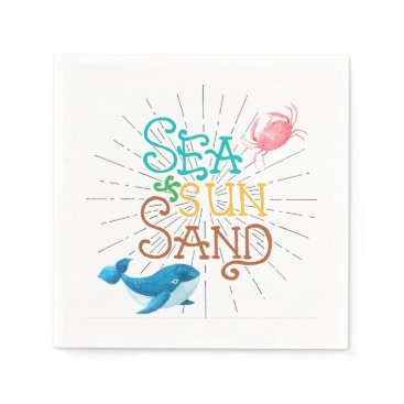 Beach Themed Sea Sun Sand Napkin
