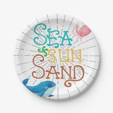Beach Themed Sea Sun Sand Paper Plate