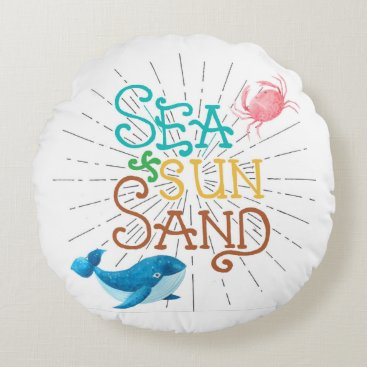 Beach Themed Sea Sun Sand Round Pillow