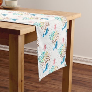 Beach Themed Sea Sun Sand Short Table Runner