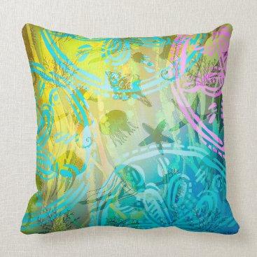 """Beach Themed Sea Sun Throw Pillow 20"""" x 20"""""""