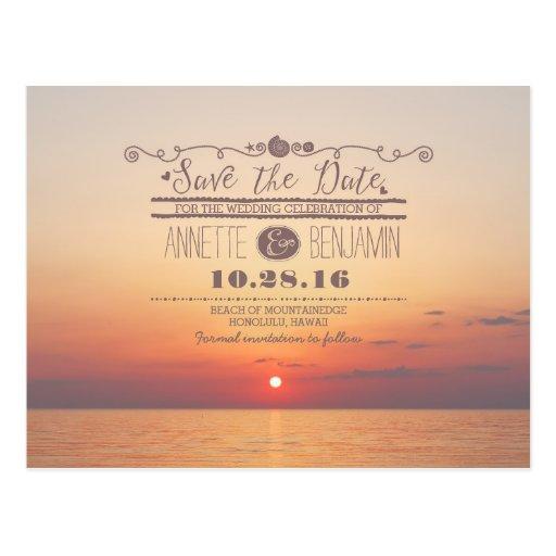 sea sunset romantic beach save the date postcard