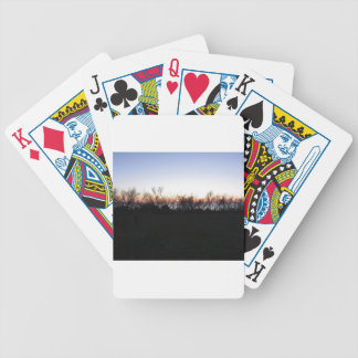 Sea sunset with coastal vegetation silhouette bicycle playing cards