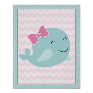 Sea Sweeties Girl Sealife Aqua Whale Art Poster