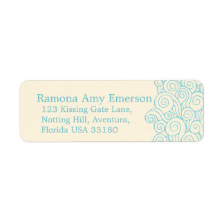 Sea swirl cream slim wedding return reply label